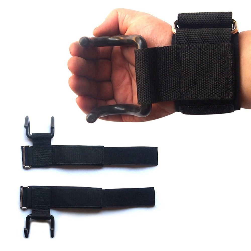 Power Weight Lifting Training Gym Hook Grips Straps Wrist Support Bandage 2 Color(China (Mainland))