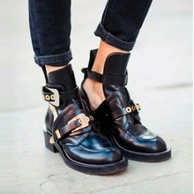 Top selling  spring autumn women genuine leather metal buckle cut out Martin motorcycle ankle boots punk spirit high derby shoes