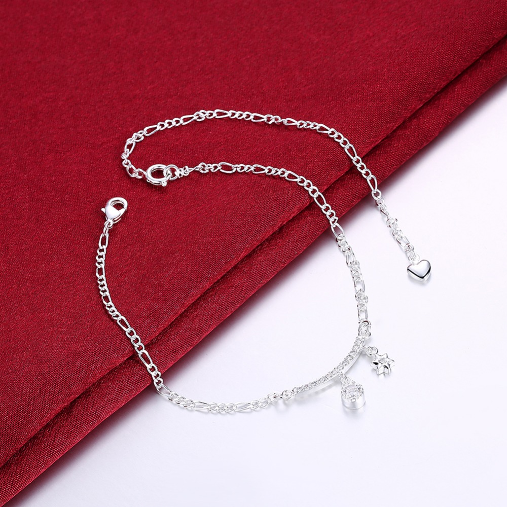 Free Shipping Women Top quality 925 stamped silver plated Anklets Mogen David pendant figaro chain charm Anklets For girl Gift(China (Mainland))