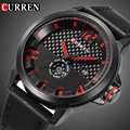 Curren Top Luxury Brand Quartz Watch Man Sport Black Fiber Face Casual date week Leather Military