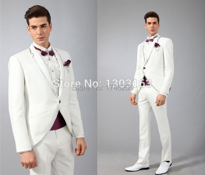 Discount Wholesale 2015 Velvet Blue Groom Tuxedos Suits For Mens ...
