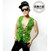 2016 singer vest man dress Male dj ds neon green specular suit vest for singer dancer star performance custume nightclub cool(China (Mainland))