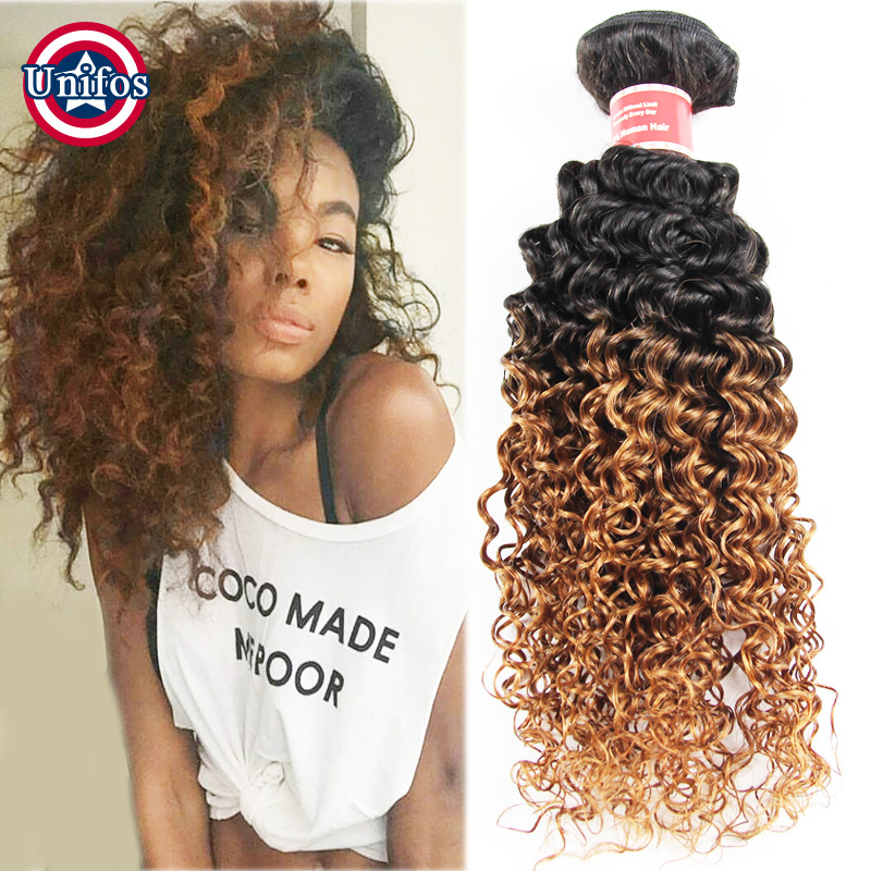 Ombre Peruvian Hair Kinky Curly Weaving 2 Pcs Peruvian Ombre Curly Hair Blonde Curly Peruvian Virgin Hair Ombre Human Hair Weave