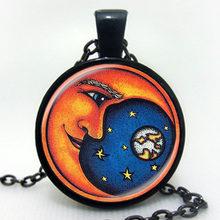 Collier Style été bijoux galaxie verre Cabochon chaîne collier voie lactée galaxie nébuleuse espace Antique argent soleil dieu pendentif collier(China)