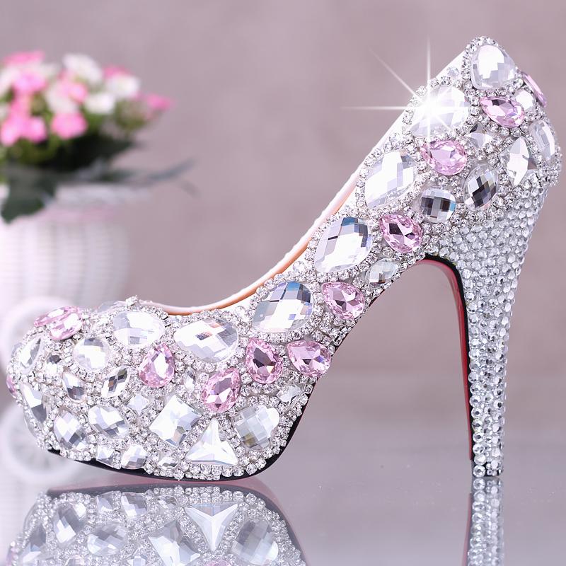 NEW crystal pink rhinestone pumps women's bride shoes wedding shoes high heel platform  shoes single shoes
