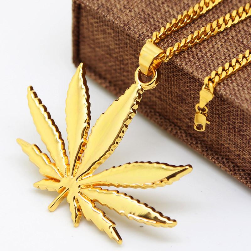 18K Gold Plated Hemp leaf pendants necklaces High Quality Fashion Hiphop long necklaces golden Chain for men bijouterie new 2016()