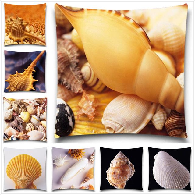 Морской организм серии печатных чехлы Хлопок полиэстер Shell Площадь бросьте наволочку для домашнего 5 размер