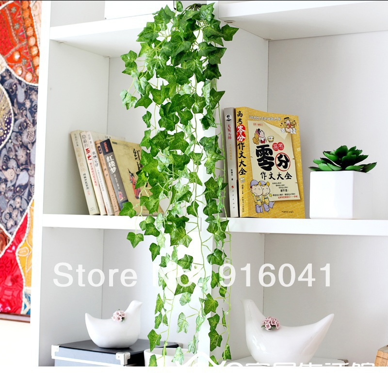 Wholesale 100pcs Wall Mounted Vine Real Touch Decorative Artificial PU Leaves Wedding Garden Party Coffee Shop Free Shipping(China (Mainland))