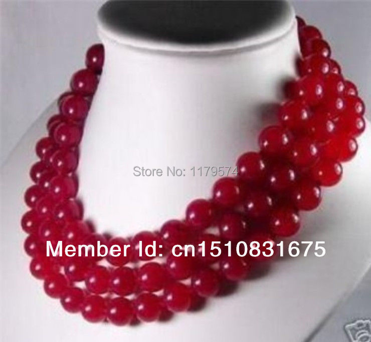 "Free shipping new noble all-match woman 10mm Red Ruby Jasper Necklace 50"" xu16(China (Mainland))"