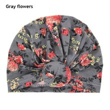 New Kids Girls Soft Cotton Beanie Hat Floral Print Wide Knotted Turban Hat Hair Accessories Winter Warm Caps for 1~6 years old(China)