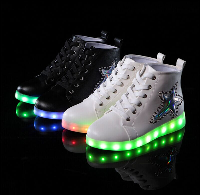 Fashion 7Colors Women LED Shoes 2016 Autumn Winter High ...