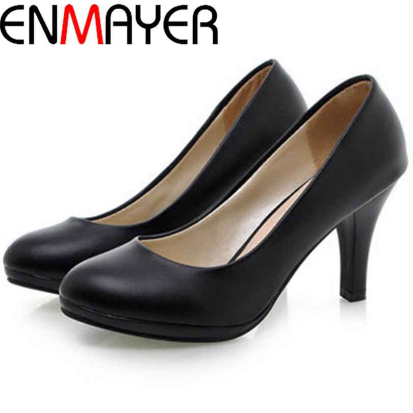 ENMAYER 2014 Spring Autumn Work Shoes Soft Leather OL Thin Heels Single Women's White Black High-heeled
