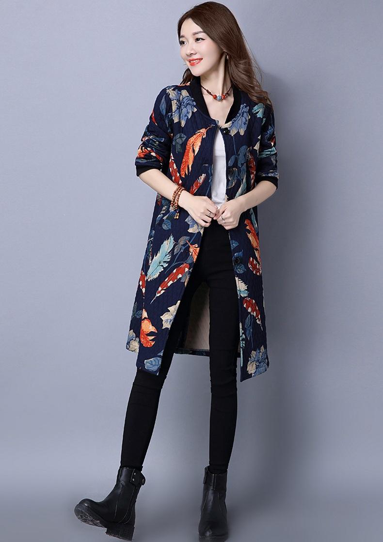 Скидки на Осень Женщины Цветочный Пальто Новый Ретро Дамы Шею Средней Длины Парки Повседневная Тонкий Тонкий Хлопок Ватник Пальто Женщина