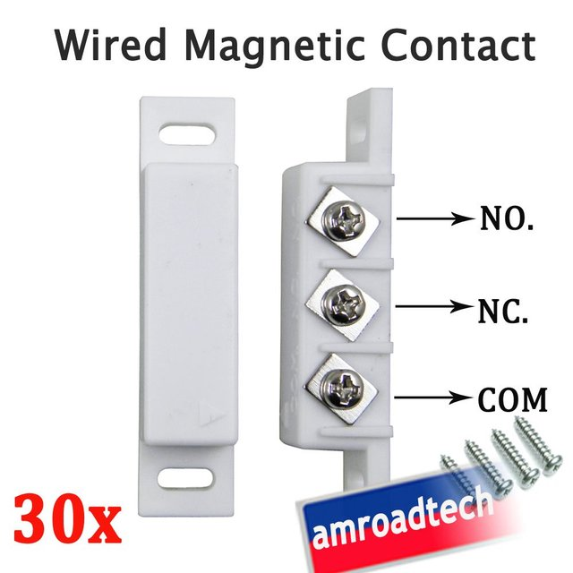 30pcs Wired Magnetic Door Window Contact Sensor for Alarm System W N.O/N.C Output AT-DC02W, by Post