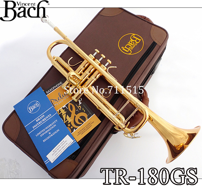 Profissional Vincent Bach Brass Bb Trumpet TR-180GS Bb Gold Lacquer Trumpete Instrumentos Trompeta Case Mouthpiece 7c(China (Mainland))