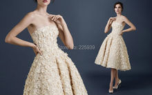 New Fashion Strapless Off The Shoulder A Line Knee Length Fully Couture Beautiful Hand Made Flowers Short Wedding Dresses Gowns(China (Mainland))