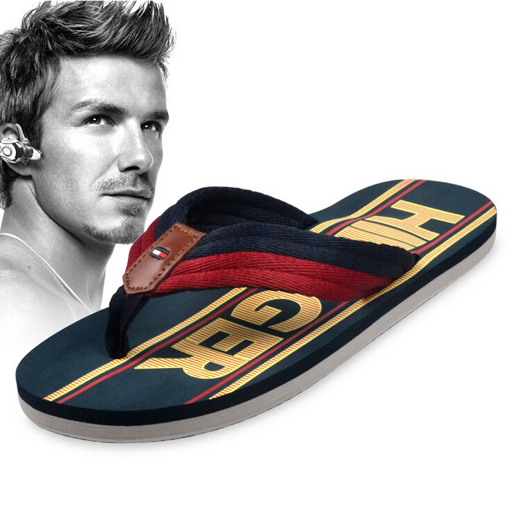 2015 New Beckham summer fashion brand fashion rubber wear-resistant Men flip flops shoes beach slippers Size 39-46 high quality(China (Mainland))