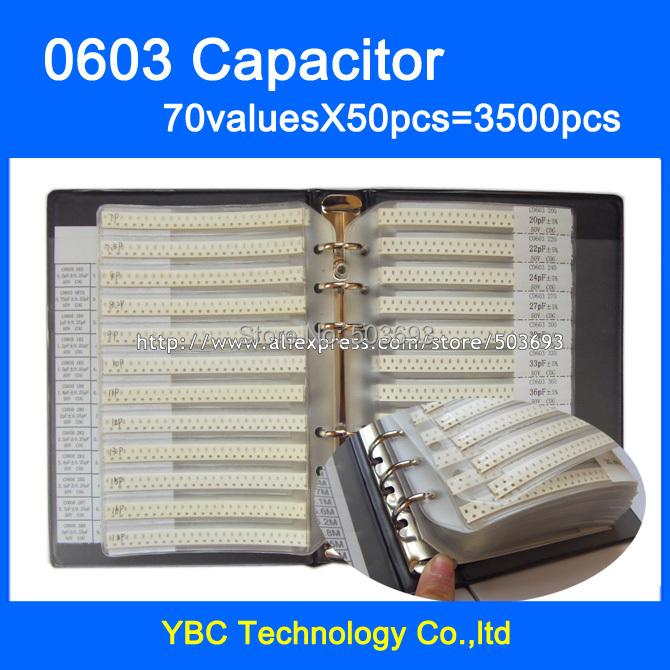 Free Shipping 0603 SMD Capacitor Sample Book 70valuesX50pcs=3500pcs 1PF~22UF Capacitor Assortment Kit Pack(China (Mainland))