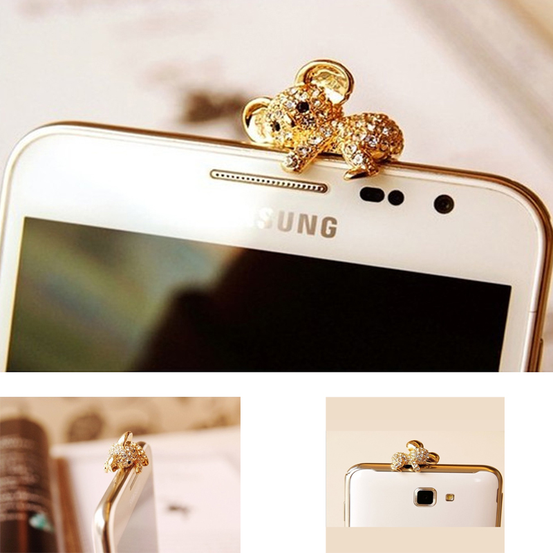 iMeaning 3.5mm Crystal Rhinestones Cellphone Charms Earphone Audio Headphone Anti Jack Bear Dust Plug Phone Baby Bear Dust Plug(China (Mainland))