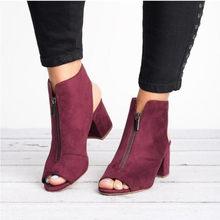 Botas de tobillo de moda de imitación de cuero de gamuza Casual abierto Peep Toe tacones altos cremallera de moda cuadrado de goma negro zapatos para mujeres Size3(China)