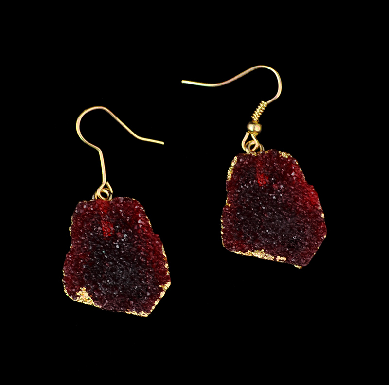 Fashion gold plated alloy imitation wine red natural stone crystal dangle earrings women jewelry - Fascinating Jewelry store