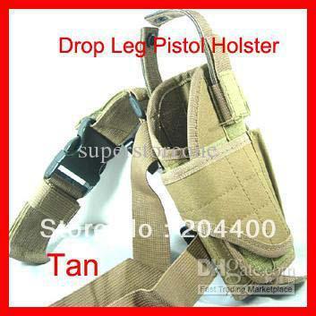 Free Shipping Hunting Tan Color Adjustable Military Gear Tactical Nylon Drop Leg Gun Pistol Holster Outdoor Products Airsoft Hot(China (Mainland))