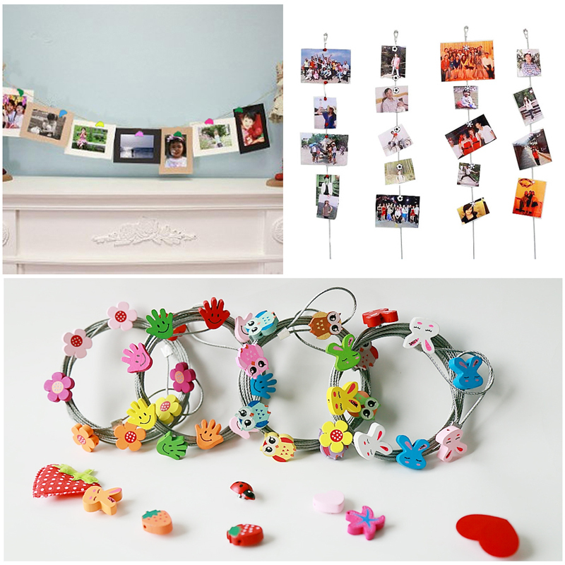 1 5m magnetic photo frams for picture rope garland vertical hanging photograph clips home. Black Bedroom Furniture Sets. Home Design Ideas