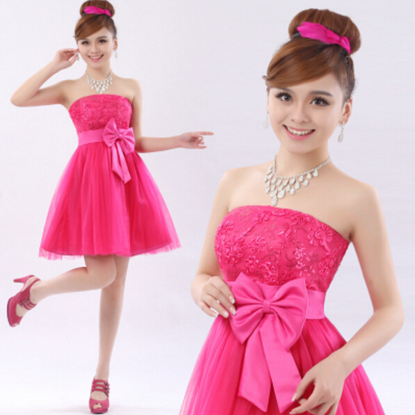 Popular Strapless Hot Pink Bridesmaid Dresses-Buy Cheap Strapless ...