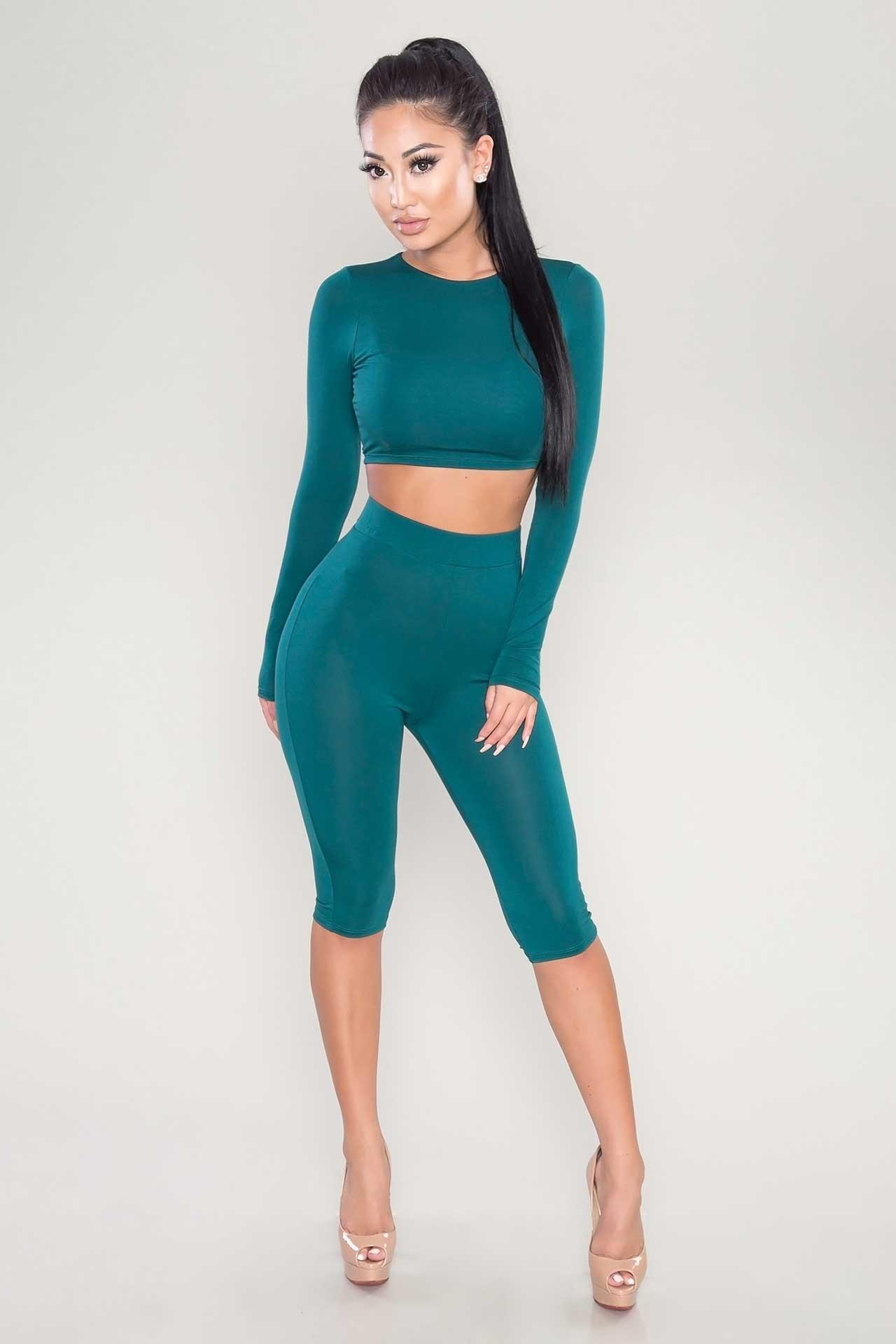 U30102017 Casual Women Two Piece Piece Outfits Jumpsuits Long Sleeve ( ^ ^)u3063 Bodycon Bodycon 2 Piece ...