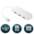 Ultra Slim Premium 3 Port Aluminum USB 3 0 Hub with Multi In 1 Card Reader