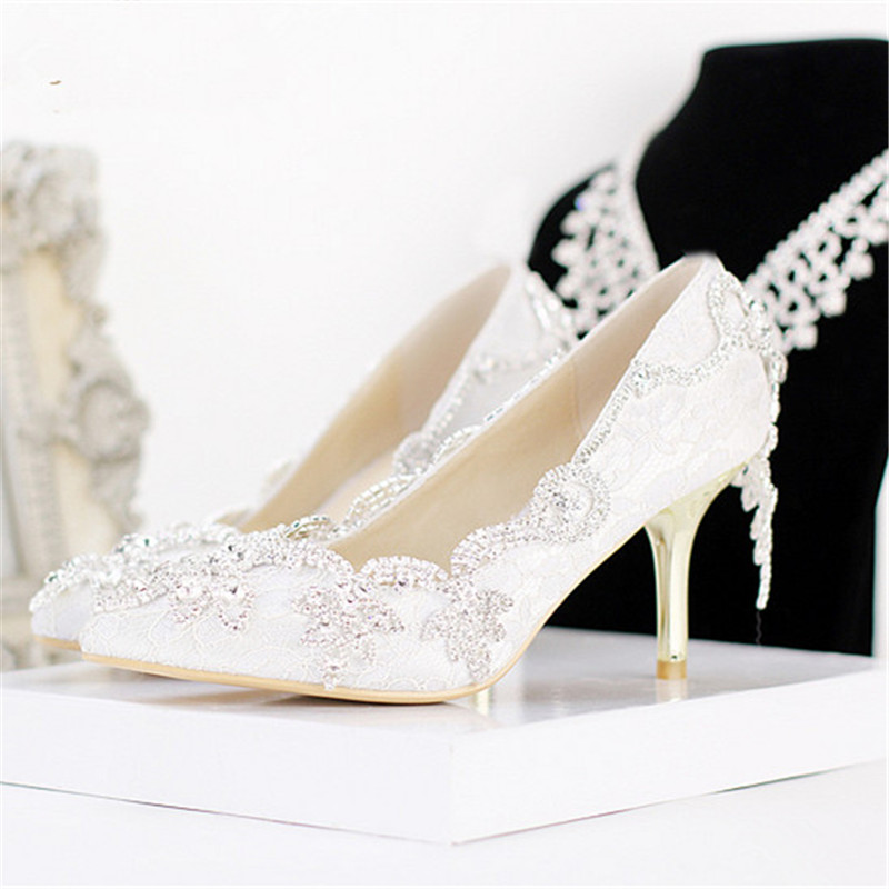 2016 New fashion bling bling rhinestone wedding Shoes pointed toe crystal party High Heel Bridal dresses Shoes prom Pumps