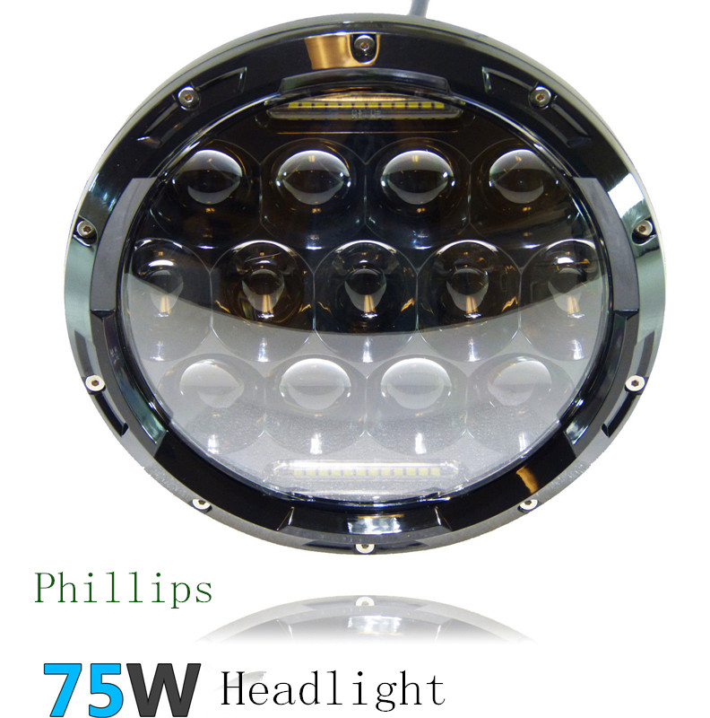 "1 PCS Black 75W 7"" Headlight Motorcycle LED High/ Low Beam 7"" Round H4 Motorcycle Led Headlight For Harley Jeep wrangler(China (Mainland))"