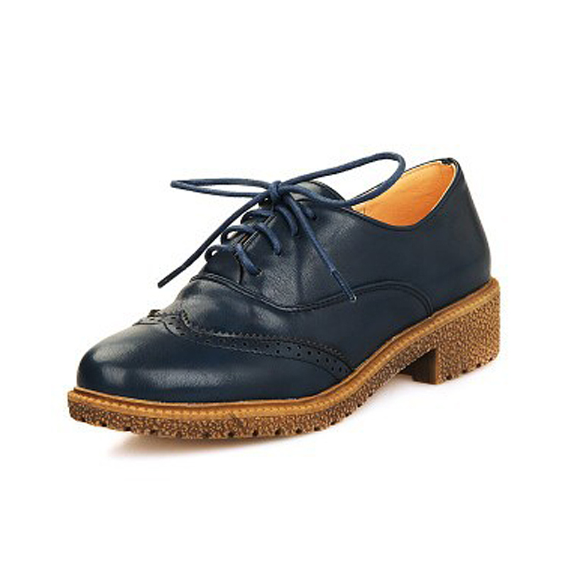 New 2016 Fashion Brogue Oxford Shoes For Women Vintage Lace Up Flat Women Oxfords Ladies Casual ...