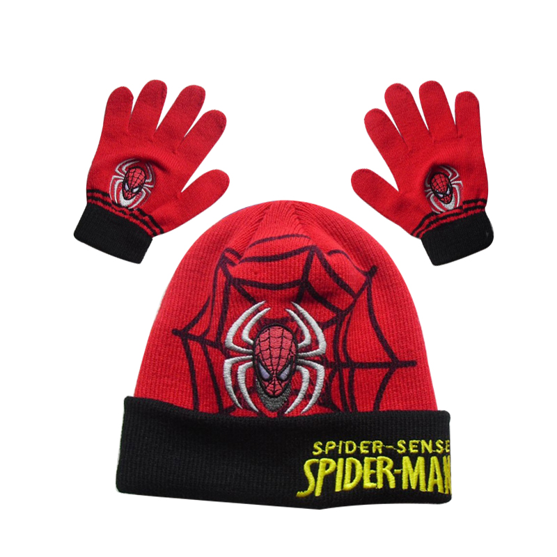 Hot Children's Cap Scarf Hat Winter Cartoon Spider Man Glove Hats Sets Fashion Kids Baby Warm Knitted Caps Gloves Baby Beanies(China (Mainland))