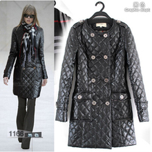 Free Shipping ! 2014 Winter Fashion Runway New Brand PU Leather Long Sleeve Double Breaseted Black Long Thickening Coat(China (Mainland))