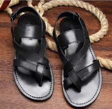 2015 Size 38-43 Men's Fashion Casual Genuine Leather Flip Flops Sandals Teenagers Gladiator Beach Sandals T Show Sandals 6050(China (Mainland))