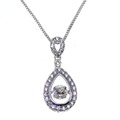 100 Real 925 Sterling Silver Jewelry Dancing CZ Crystal Pendant Necklace Women Jewelry Necklace