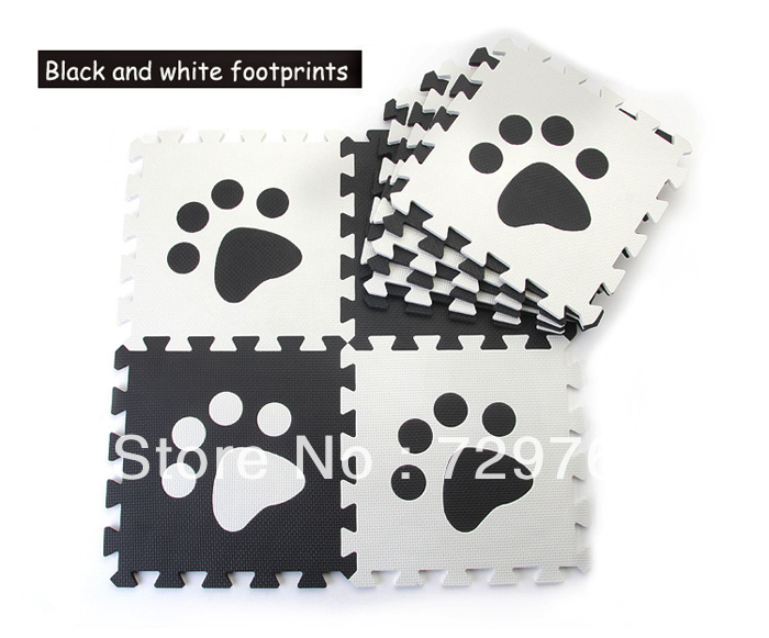 Environmental Eva Foam Cartoon Black White Footprints Puzzle Play Mat Carpet Baby Crawling Mats Toys Children 30*30cm - Mombaby's store