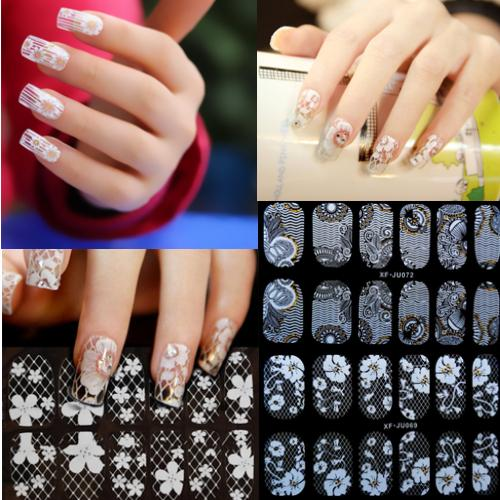 5sheet french style white lace bow nail art sticker decal manicure tip decoration tools stickers ongles - ShenZhen WENTOP Technology Co., Ltd. store