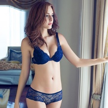 B46 2015 Sale New Lace Set Push Up Bra Back Closure Floral Sexy Plunge Transparent Briefs Underwire embroidery padded bra
