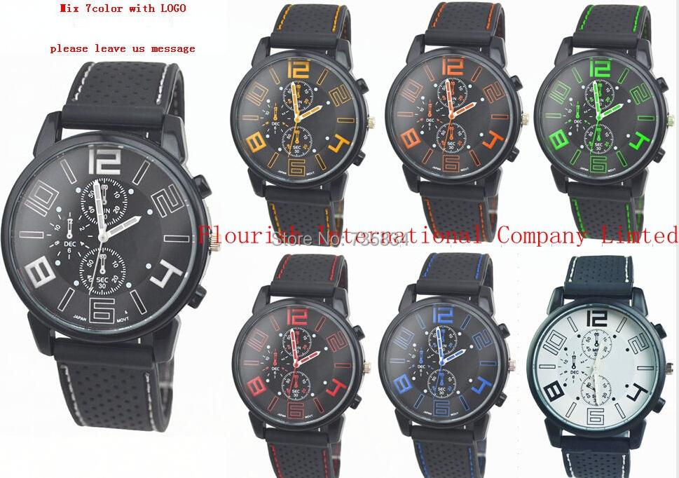 Wholesale 300pcs/lot Mix 7colors  Men Sport Quartz Watch Military Racing Wrist Watch Army Silicone F1 Watch RW030<br><br>Aliexpress