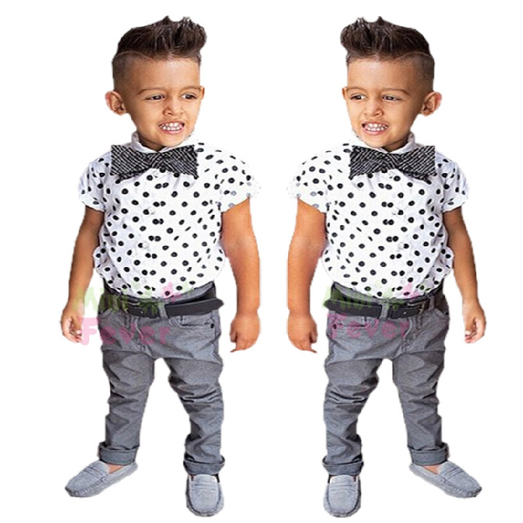 Gentleman Boy's clothing sets children's clothing baby boy 3pcs set child clothing boy Polka dot shirts+trousers+bow tie f1732(China (Mainland))