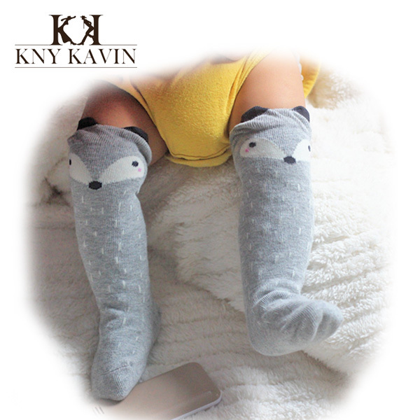 Fancy Designer grey kawaii cartoon fox Brand leg warmers baby Boys girls legging socks protectors for