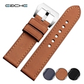 High Quality Handmade Vintage Genuine Leather Watch Band Strap for P Watch 22mm 24mm With Silver
