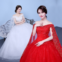 Buy Free 2017 Short Sleeves Red White Lace Bling Wedding Dresses Plus size Sequins Princess Bride Frocks Gowns XXN175 for $39.00 in AliExpress store