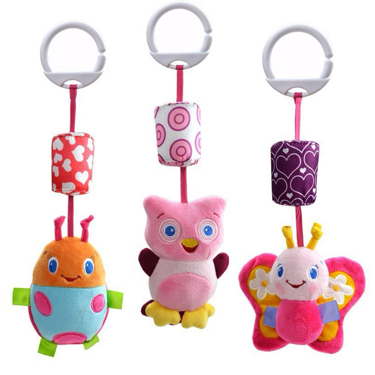 Baby hand bell Rattles windbells animal shape bed/car hanging bells educational toys plush dolls - Shenzhen Ledtop Technology Co., Ltd. store
