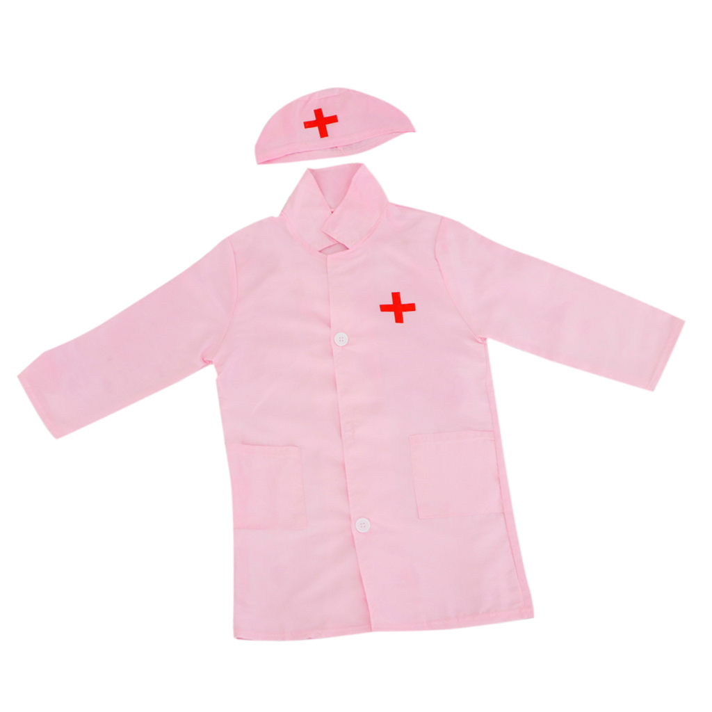 Unisex Kids Boys Girls Doctor Surgeon Halloween Cosplay Dress up Coat with Cap Nurse Play Tools Set Outfits