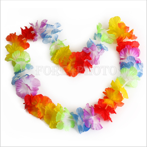 20pcs/lot Hawaiian leis Party Supplies Garland Necklace Colorful Fancy Dress Party Hawaii Beach Fun(China (Mainland))