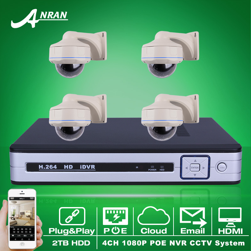 Play And Play 4CH H.264 NVR POE CCTV System 2TB HDD P2P 1080P HD 30 IR Vandalproof Dome POE IP Camera Security Surveillance Kit(China (Mainland))