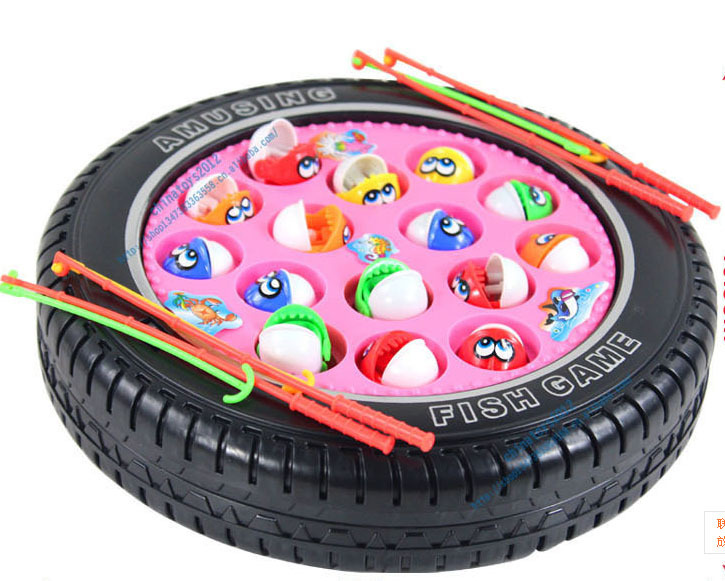baby toy wheel fishing Electric Rotating Magnetic Magnet Fish Fishing Kid Children Educational Toy Game child gift(China (Mainland))